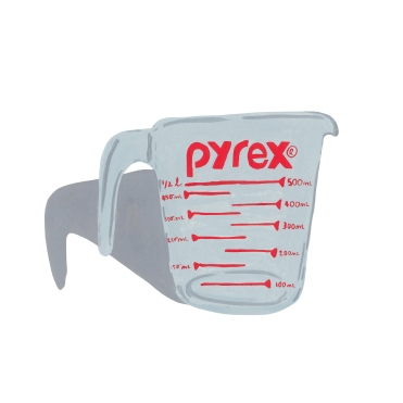 pyrex cup layout square
